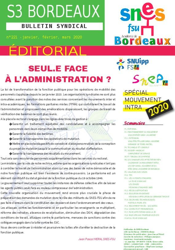Bulletin académique n°221