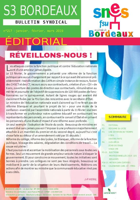 Bulletin académique n°217